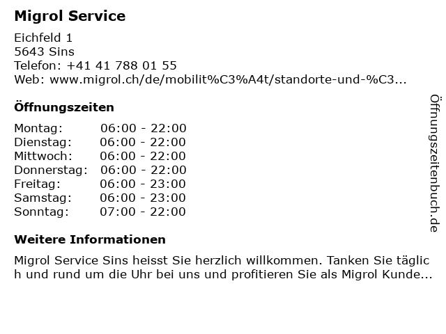 Migrol Service in Sins: Adresse und Öffnungszeiten