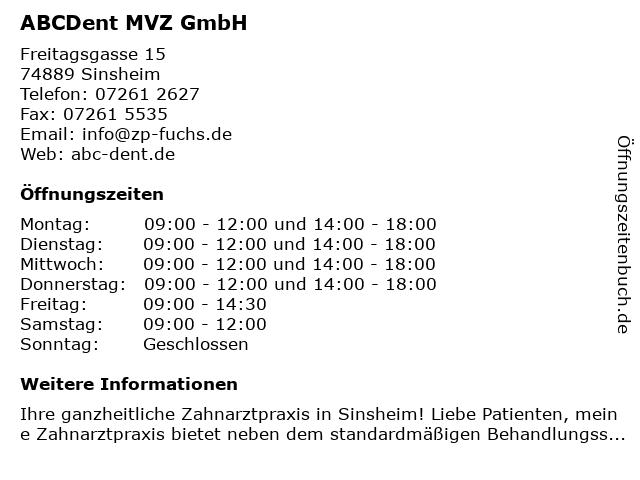 ᐅ öffnungszeiten Abcdent Mvz Gmbh Freitagsgasse 15 In Sinsheim