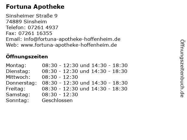 Fortuna Apotheke in Sinsheim: Adresse und Öffnungszeiten