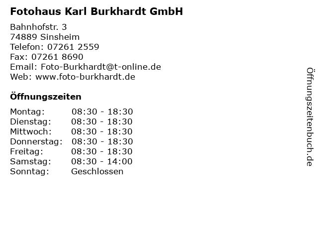 Fotohaus Karl Burkhardt GmbH in Sinsheim: Adresse und Öffnungszeiten