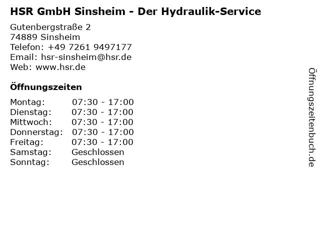 HSR Der Hydraulik-Service in Sinsheim: Adresse und Öffnungszeiten