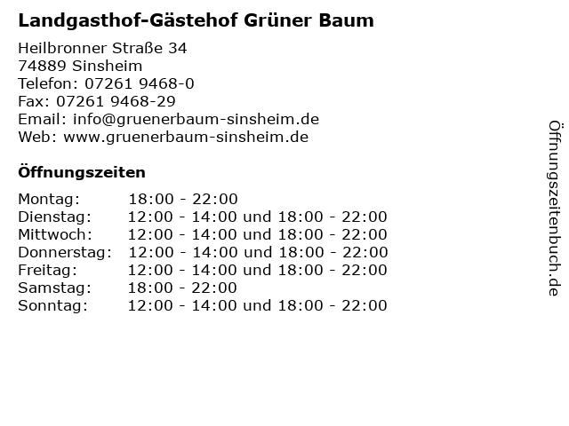Landgasthof-Gästehof Grüner Baum in Sinsheim: Adresse und Öffnungszeiten