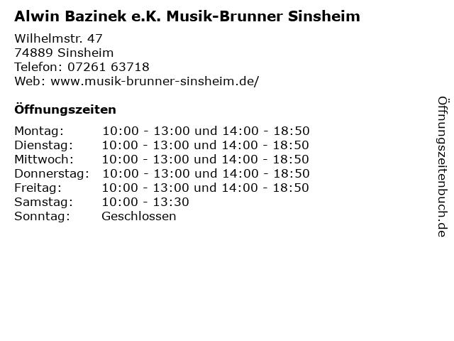 Musik-Brunner-Sinsheim Inh. Alwin Bazinek e.K. in Sinsheim: Adresse und Öffnungszeiten