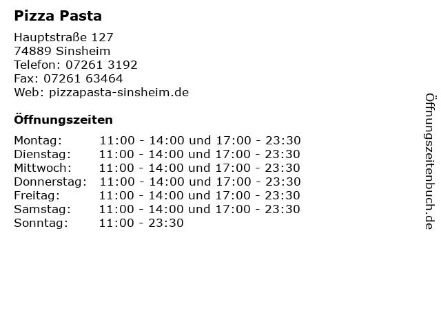 Pizza Pasta in Sinsheim: Adresse und Öffnungszeiten
