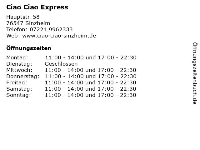 Ciao Ciao Express in Sinzheim: Adresse und Öffnungszeiten