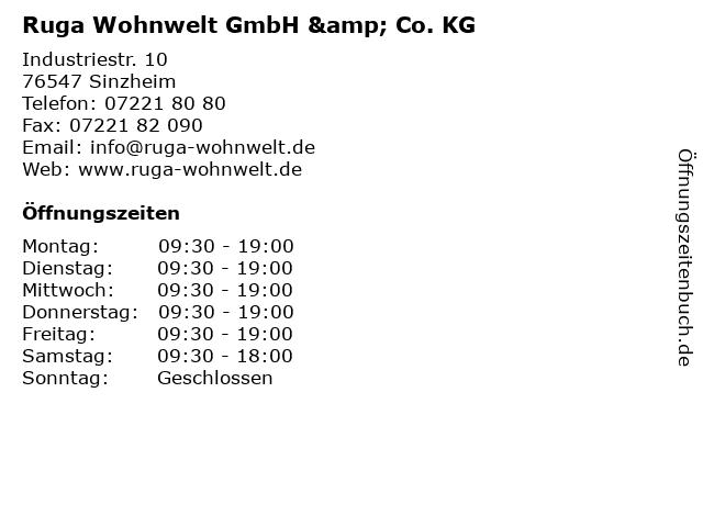 ᐅ Offnungszeiten Ruga Wohnwelt Gmbh Co Kg Industriestr 10