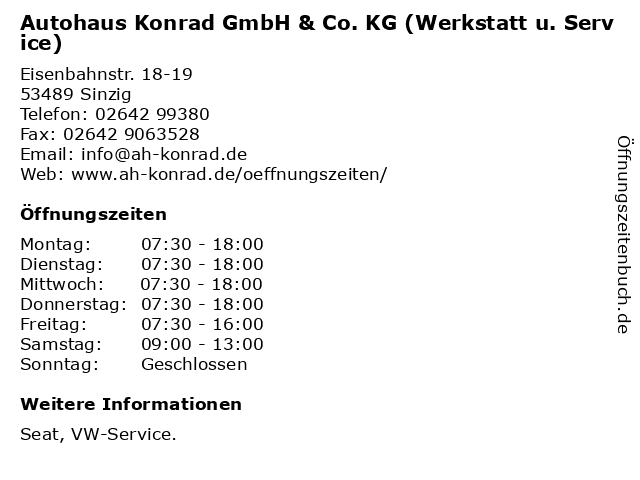 Autohaus Konrad GmbH & Co. KG (Werkstatt u. Service) in Sinzig: Adresse und Öffnungszeiten