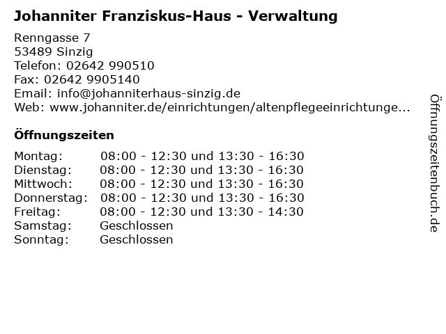 Johanniter Franziskus-Haus - Verwaltung in Sinzig: Adresse und Öffnungszeiten