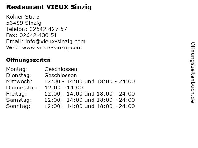 Restaurant VIEUX Sinzig in Sinzig: Adresse und Öffnungszeiten