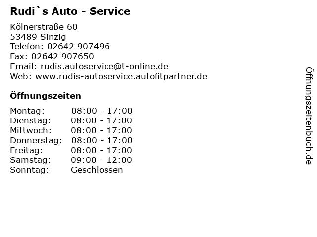 Rudi`s Auto - Service in Sinzig: Adresse und Öffnungszeiten