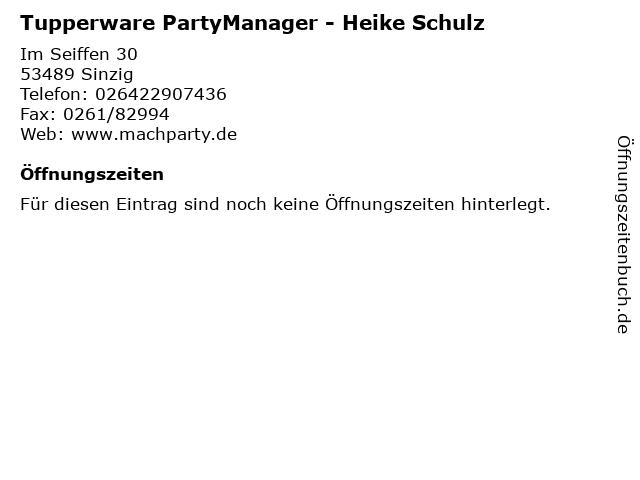 Tupperware PartyManager - Heike Schulz in Sinzig: Adresse und Öffnungszeiten