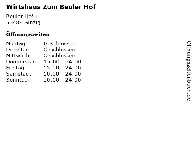Wirtshaus Zum Beuler Hof in Sinzig: Adresse und Öffnungszeiten