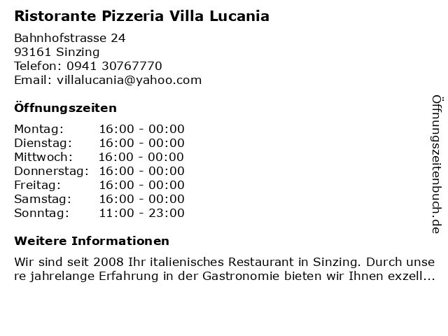 Ristorante Pizzeria Villa Lucania in Sinzing: Adresse und Öffnungszeiten