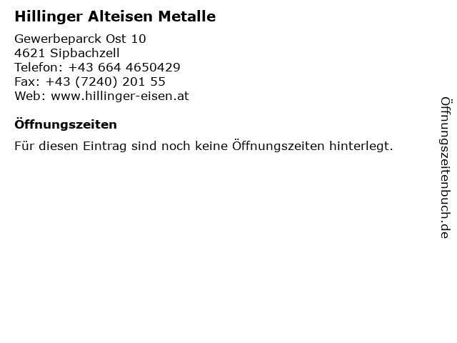 Hillinger Alteisen Metalle in Sipbachzell: Adresse und Öffnungszeiten