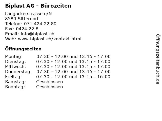 Biplast AG - Bürozeiten in Sitterdorf: Adresse und Öffnungszeiten