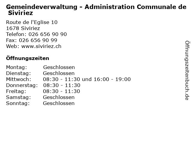 Gemeindeverwaltung - Administration Communale de Siviriez in Siviriez: Adresse und Öffnungszeiten