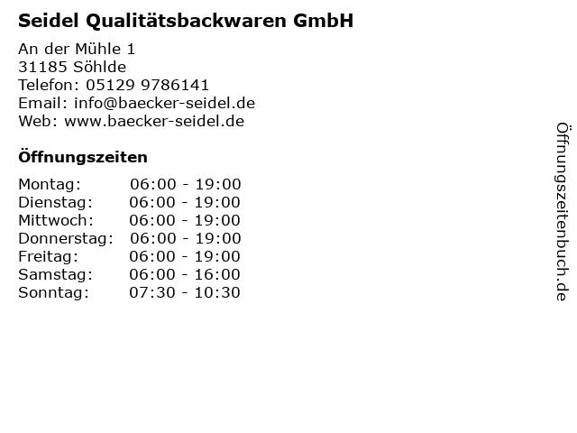 Seidel Qualitätsbackwaren GmbH in Söhlde: Adresse und Öffnungszeiten