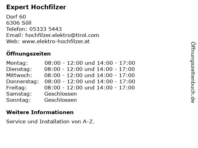 Expert Hochfilzer in Söll: Adresse und Öffnungszeiten