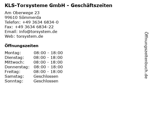 KLS-Torsysteme GmbH - Geschäftszeiten in Sömmerda: Adresse und Öffnungszeiten