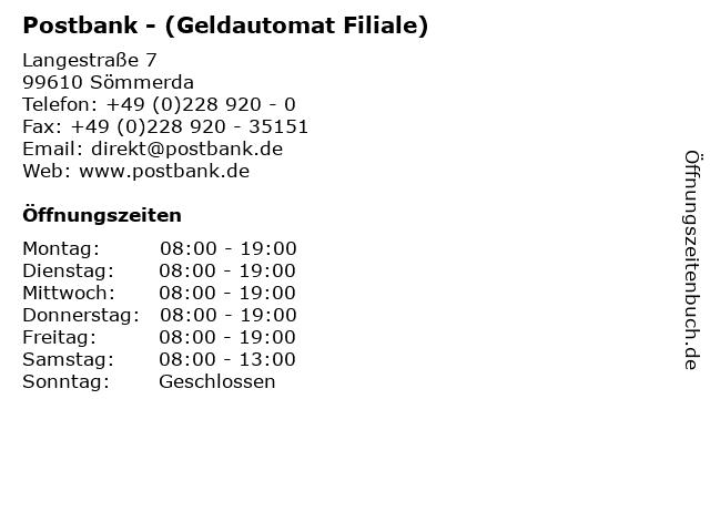 Postbank - (Geldautomat Filiale) in Sömmerda: Adresse und Öffnungszeiten