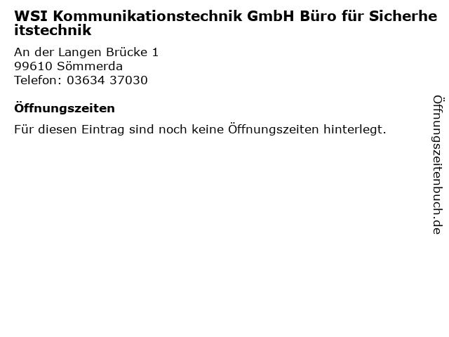 WSI Kommunikationstechnik GmbH Büro für Sicherheitstechnik in Sömmerda: Adresse und Öffnungszeiten