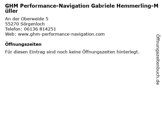 GHM Performance-Navigation Gabriele Hemmerling-Müller in Sörgenloch: Adresse und Öffnungszeiten
