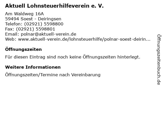 Aktuell Lohnsteuerhilfeverein e. V. in Soest - Deiringsen: Adresse und Öffnungszeiten