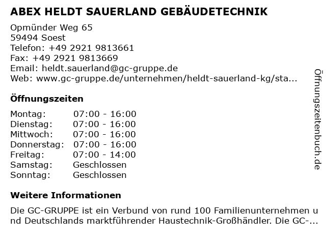 ABEX HELDT SAUERLAND GEBÄUDETECHNIK in Soest: Adresse und Öffnungszeiten