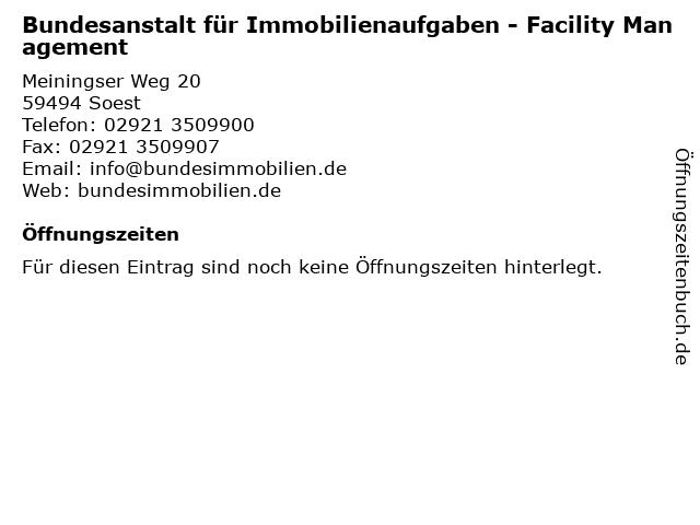 Bundesanstalt für Immobilienaufgaben - Facility Management in Soest: Adresse und Öffnungszeiten