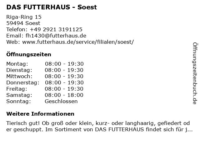 Das Futterhaus-Franchise GmbH & Co. KG in Soest: Adresse und Öffnungszeiten