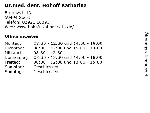 Dr.med. dent. Hohoff Katharina in Soest: Adresse und Öffnungszeiten