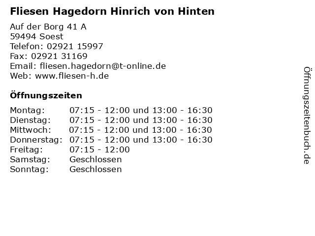 Fliesen Hagedorn Hinrich von Hinten in Soest: Adresse und Öffnungszeiten