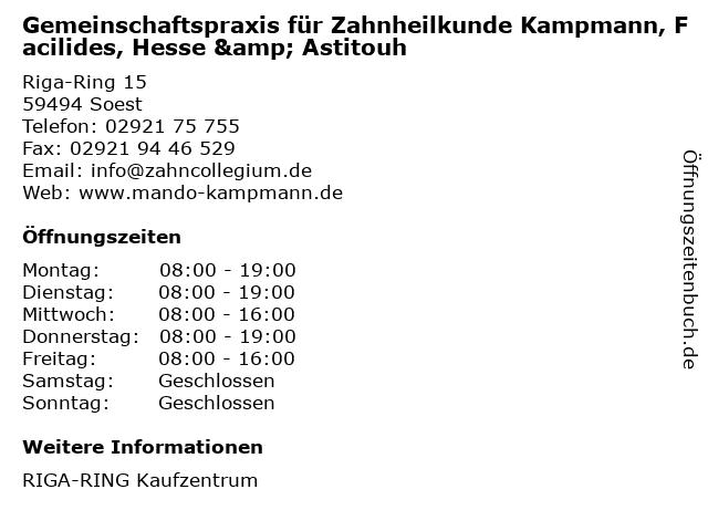 Gemeinschaftspraxis für Zahnheilkunde Kampmann, Facilides, Hesse & Astitouh in Soest: Adresse und Öffnungszeiten