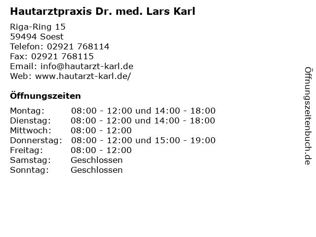 Hautarztpraxis Dr. med. Lars Karl in Soest: Adresse und Öffnungszeiten