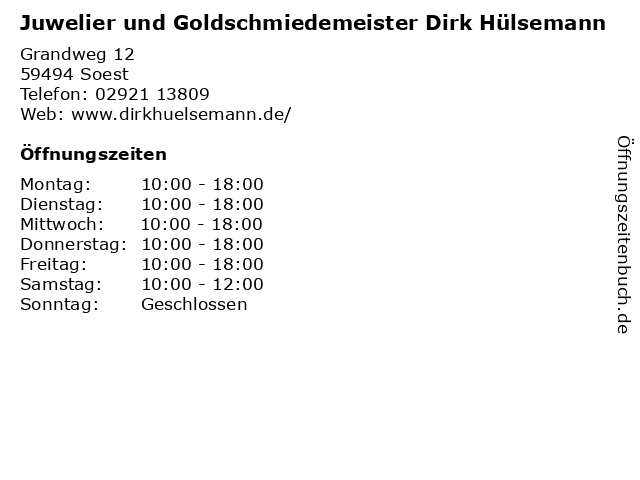 Juwelier und Goldschmiedemeister Dirk Hülsemann in Soest: Adresse und Öffnungszeiten