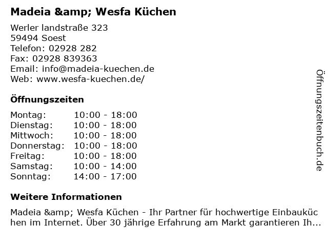 ᐅ Offnungszeiten Wesfa Mobel Peter Madeia Kg Werler Landstr