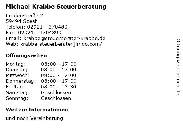 Michael Krabbe Steuerberatung in Soest: Adresse und Öffnungszeiten
