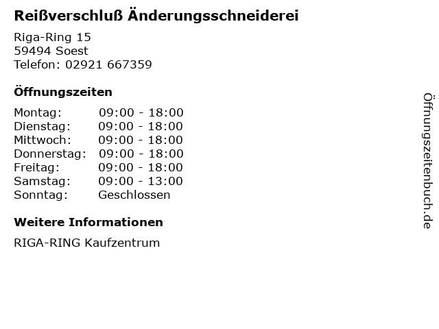 Reißverschluß Änderungsschneiderei in Soest: Adresse und Öffnungszeiten