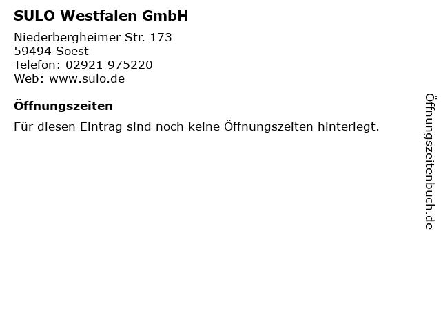 SULO Westfalen GmbH in Soest: Adresse und Öffnungszeiten