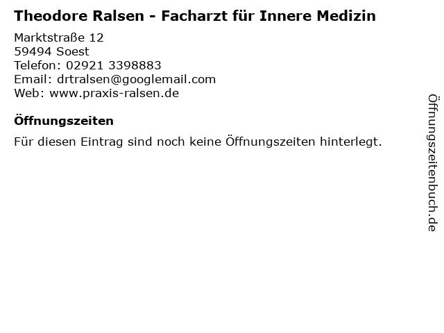 Theodore Ralsen - Facharzt für Innere Medizin in Soest: Adresse und Öffnungszeiten