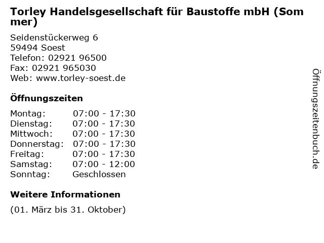 Torley Handelsgesellschaft für Baustoffe mbH (Sommer) in Soest: Adresse und Öffnungszeiten