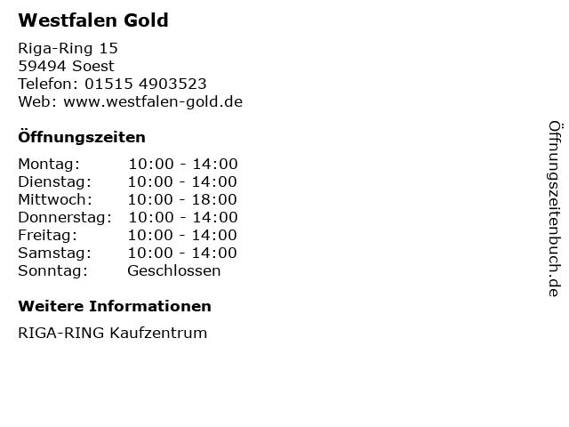 Westfalen Gold in Soest: Adresse und Öffnungszeiten