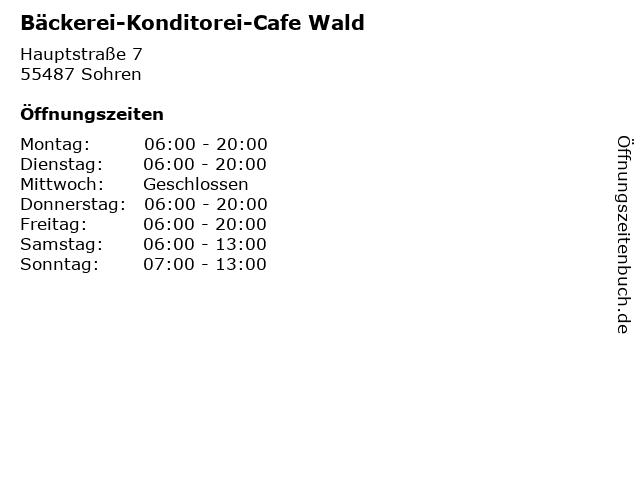 Bäckerei-Konditorei-Cafe Wald in Sohren: Adresse und Öffnungszeiten