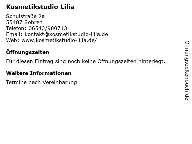 Kosmetikstudio Lilia in Sohren: Adresse und Öffnungszeiten