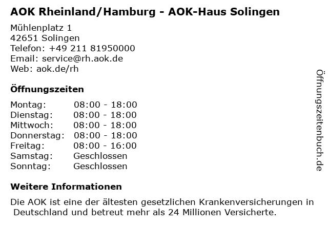 AOK Rheinland/Hamburg - GS Solingen in Solingen: Adresse und Öffnungszeiten