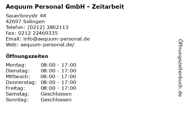Aequum Personal GmbH - Zeitarbeit in Solingen: Adresse und Öffnungszeiten