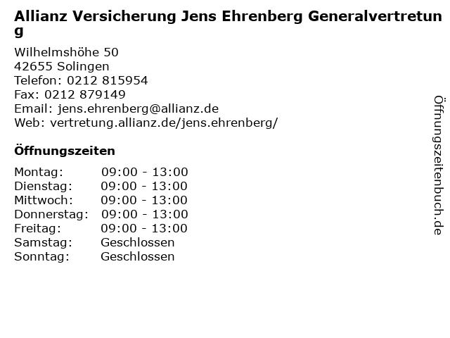 Allianz Generalvertretung Jens Ehrenberg in Solingen: Adresse und Öffnungszeiten