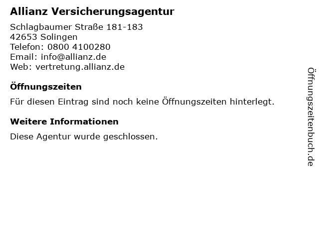 Allianz Stemm und Espelmann GbR in Solingen: Adresse und Öffnungszeiten