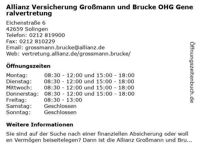 Allianz Versicherung - Generalvertretung Großmann und Brucke OHG in Solingen: Adresse und Öffnungszeiten
