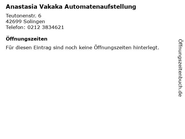 Anastasia Vakaka Automatenaufstellung in Solingen: Adresse und Öffnungszeiten